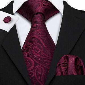 Burgundy Red Paisley Floral Silk Men Tie Necktie Pocket Square Cufflinks Set