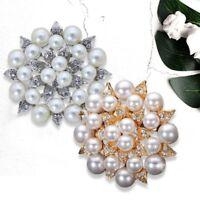 Diamante Rhinestone Crystal Pearl Silver Large Flower Wedding Bridal Brooch Pi