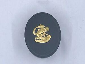 Wedgwood Black & 24kt Gold Jasperware Egyptian Oval Box Mint Condition