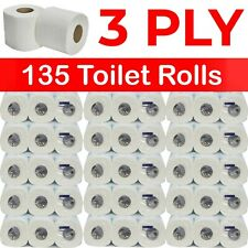 Job Lot of 135 Rolls - 3 Ply Quilted - Premium White Bathroom Toilet Roll Paper
