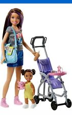 Barbie skippers baby-sitter poussette jeu avec Baby doll et accesories