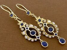 CE367 Victorian style Genuine 9ct Gold Natural Sapphire & Pearl LONG Earrings