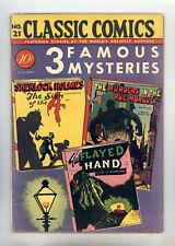 "Classic Comics #21 HRN 21 (Original) FN ""3 Famous Mysteries"" Sherlock Holmes"
