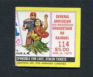 1975 Hula Bowl College East West Football Game Ticket Stub Hawaii Bartkowski