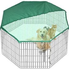 Pet Play Pen Dog Cage 8 Side 91 cm Tall Fold Metal Crate In/Out FREE Cover Large