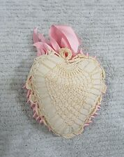 Vintage Handmade Crocheted Heart Ivory Cotton Pink Ribbon Pin Cushion FREE S/H