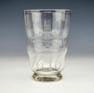 Antique 1646 Charles I Etched Commemorative Water Glass  - Made For Philips