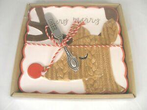 Mud Pie Rudolph Themed Cheese Plate with Serving Spreader New in Box