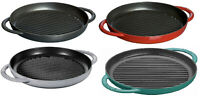 "Staub Cast Iron 10"" Round Enamel Pure Grill - 4 COLORS CHOICE NEW"