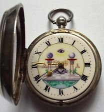 RARE SILVER MASONIC WATCH WITH PICTURE DIAL FUSEE  WORKING C1904 SOLD WITH KEY