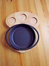 "Lava Enameled 6 1/2"" Cast Iron Fajita Fry Pan Frying Pan With Wood Plate"