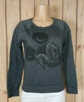 DISNEY MICKEY MOUSE Womens Size Medium Long Sleeve Shirt Sparkly Gray Pullover