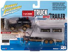 2020 Johnny Lightning *TRUCK & TRAILER 1B* BLACK Toyota Land Cruiser & Flatbed