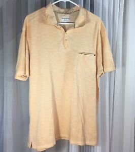 Tommy Bahama L Short Sleeve Casual Polo Shirt Peach Soft Light Weight Cotton