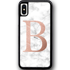 For iPhone X - Case Phone Cover PERSONALISED Initial White Marble Y01505