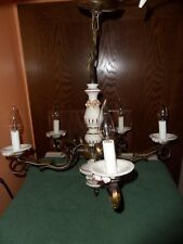 Vintage Electric Chandelier Light Fixture Ceramic Porcelain Roses 5 Brass Arms
