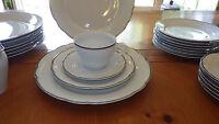 Fine Porcelain White Dinnerware Trimmed in Platinum by Kahla German Democratic