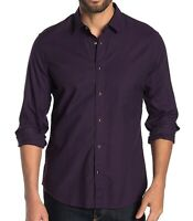 John Varvatos Star USA Men's Long Sleeve Karl Snap Front Solid Shirt Purple