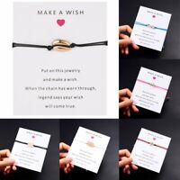 New Wish String Charm Adjustable Bracelet 'Make A Wish' Friendship Jewelry Card
