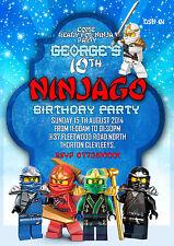 Personalizado Invitaciones Fiesta Cumpleaños Lego Ninjago 8 Juego A6