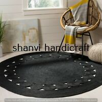Black Colour Round Rug 4 Feet Braided Natural Jute Rugs Floor Mat Decor Area Rug