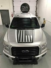 Ford F-150 Pre Cut American Flag Hood decal sticker graphics  Black Matte  Avery