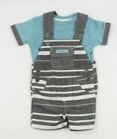 Calvin Klein Baby Boy Blue 2 Piece Short Overall & Top Outfit Set Size 0-3 Month