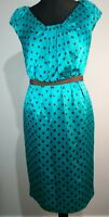 LK Bennett Turquoise Brown Polka Dot Spotted Silk Party Cocktail Dress Size 12