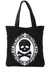Skull and Crossbones Screen Print on Canvas Tote Handbag Bag Purse