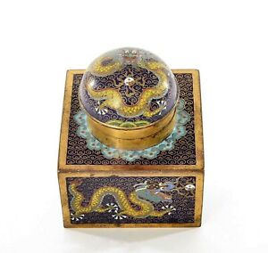 1930's Chinese Cloisonne Enamel Scholar Writing Desk Inkwell Dragon Stationery
