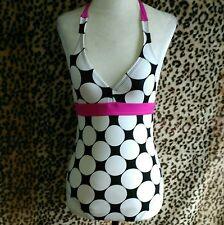 Speedo Girls 14 Swim bathing Suit I Piece Black White Polka Dot Pink Halter Neck