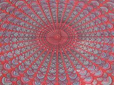 Beautiful Peacock Bed Sheet Cotton Tapestry Living Room Couch Sofa Throw Crimson