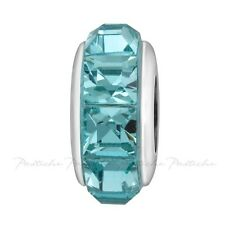 Lovelinks Bead Sterling Silver, Swarovski Teal Crystals Charm Jewelry TT641TE