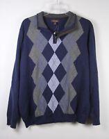 New Tasso Elba Argyle 1/2 Zip Pullover Sweater Blue Gray 2XL XXL Mens