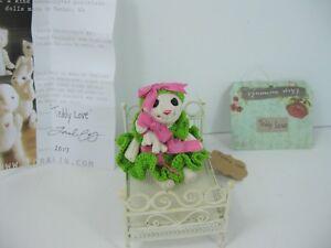 """Porcelain Teddy Bear doll """"Teddy Love handmade crochet plus baby accessories"""