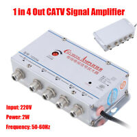 4-Way CATV Cable TV Antenna Signal Amplifier AMP Booster Splitter Home 45-860MHz