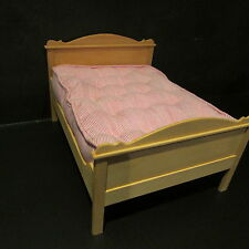 Artisan made wooden double bed with mattress ~ doll house miniature ~ 1/12 scale