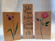 Hero Art Take Time to Enjoy Simple Things in Life Rose Iris Flower Rubber Stamps