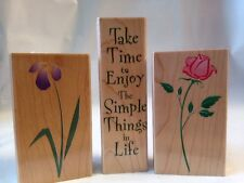Hero Art Take Time to Enjoy Simple Things in Life Rose Iris Flower Rubber Stamps