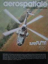 10/1982 PUB AEROSPATIALE HELICOPTERE AS 332 SUPER PUMA ALAT ORIGINAL FRENCH AD