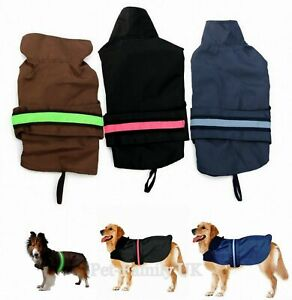 SMALL to EXTRA LARGE dog waterproof SAFETY raincoat jacket clothes fleece LED BN