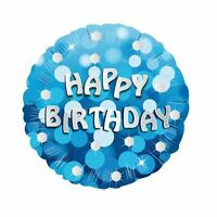 "Blue Sparkle Happy Birthday 18"" Helium Foil Balloon Party Decorations"