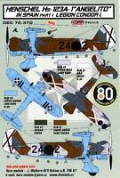 """KORA Models Decals 1/72 HENSCHEL Hs-123A-1 """"ANGELITO"""" Legion Condor Part 1"""