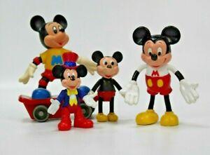 VTG Set Of 4 Mickey Mouse Toys Figurines Walt Disney- 60's 70's 80's Japan EUC
