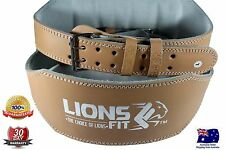 "LIONS FIT 6""WIDE NATURAL COLOR SPLIT LEATHER WEIGHTLIFTING BODYBUILDING GYM BELT"