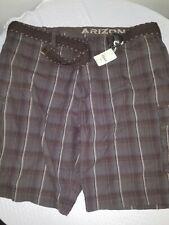 NEW Arizona Brown Plaid Cargo Shorts w/ Belt 100% Cotton Men's 52 Big & Tall