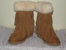 Madden Girl Brown Leather Fringe Boots Faux Fur JR Size 6 NIB #SH14