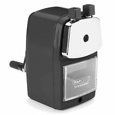 RAPESCO DESKTOP BLACK ROTARY PENCIL SHARPENER METAL HEAVY DUTY BODY & DESK CLAMP