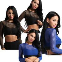 Womens Mesh Sheer Fishnet Crop Top See Through Long Sleeves Blouse Tee Shirt Top
