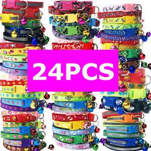 24PCS Lot Bundle Dog Pet Adjustable Nylon Collar With Buckle Puppy Cat Neck lace